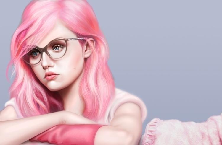 pink girl - illustration, digitalpainting - marinaarmus | ello