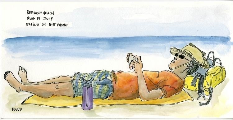 Beach lounging - beach, line, linework - nanu_illustration | ello
