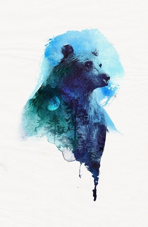 friends - bear, watercolor, nature - astronaut-6456 | ello