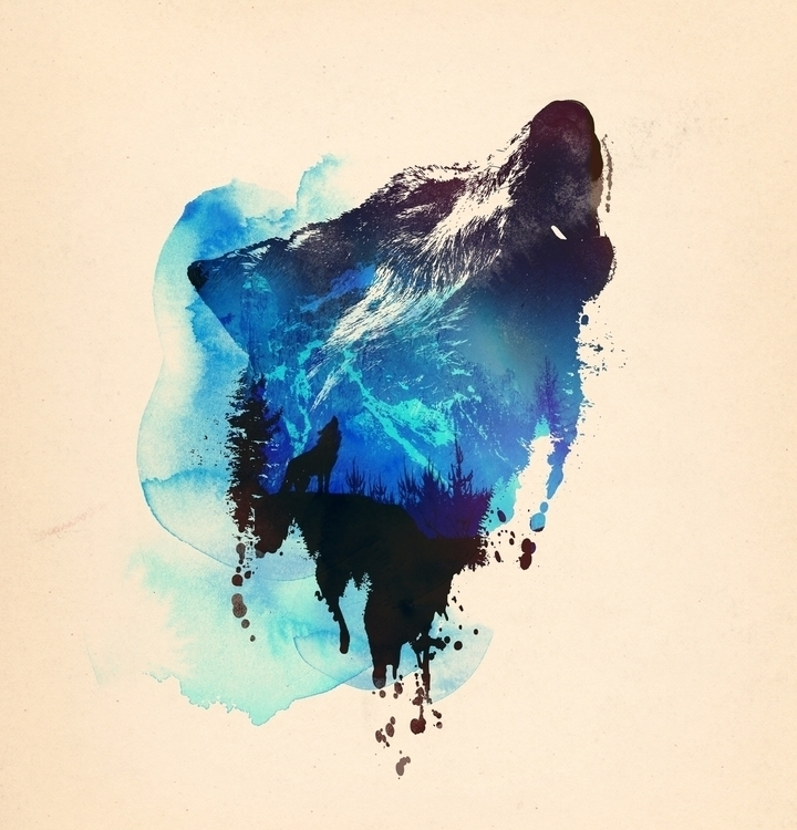 Wolf - watercolor, animals, nature - astronaut-6456 | ello