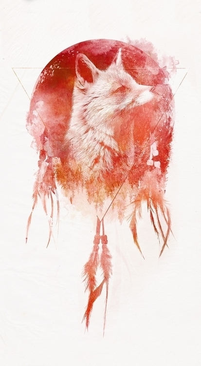 Mars - fox, nature, watercolor - astronaut-6456 | ello