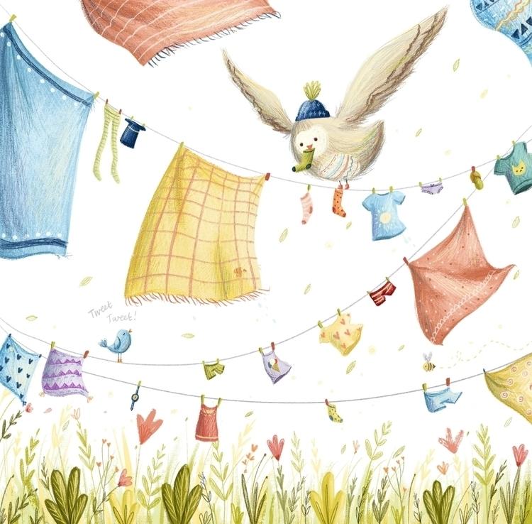 Laundry Owl - owl, illustration - illustratelucy | ello