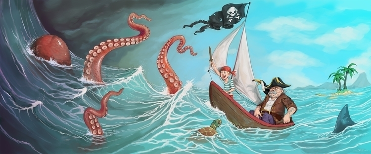 pirates, imagination, sea, kraken - rudyfaber | ello