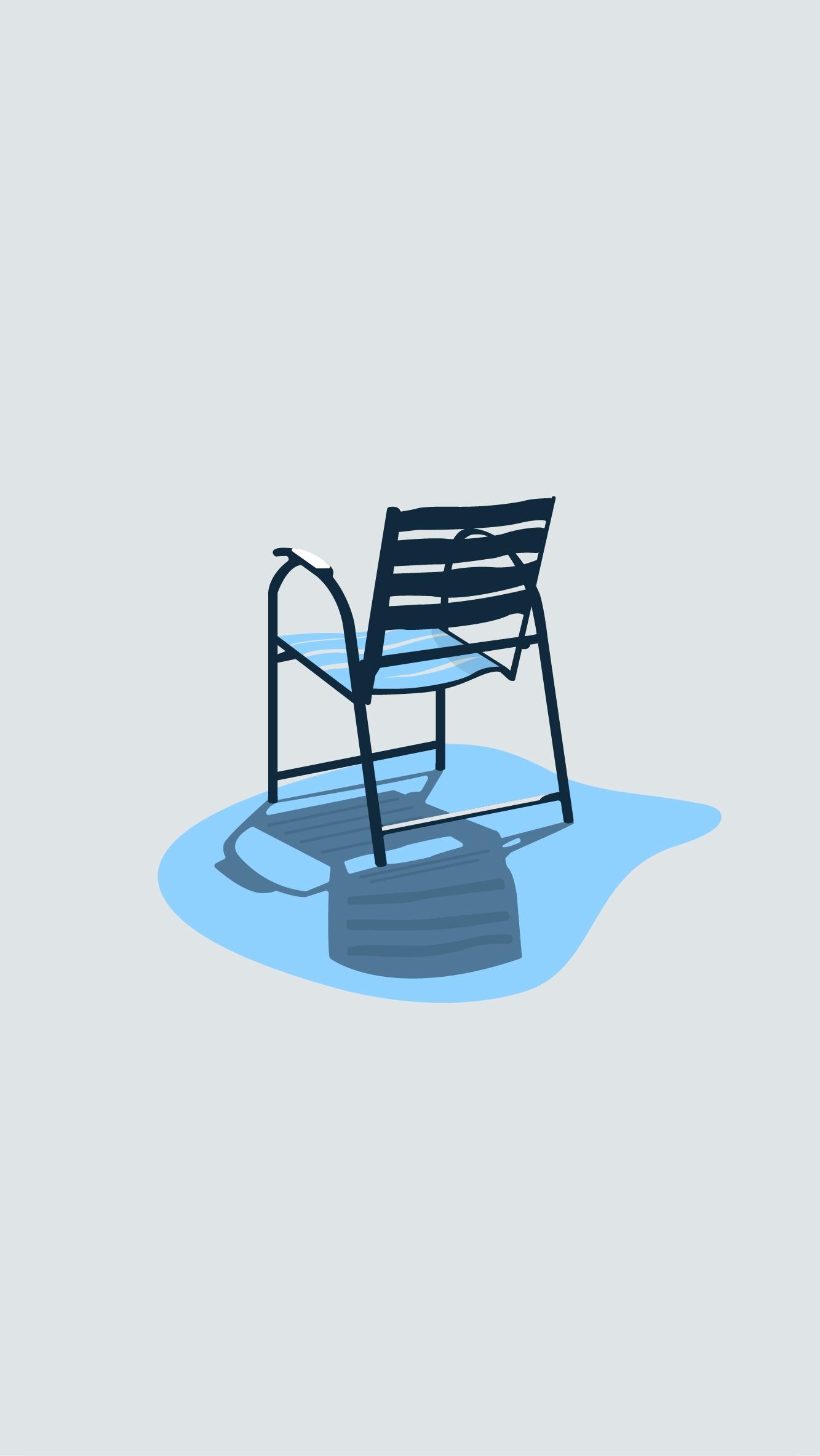 Chaise bleue - Promenade des An - commelaville   ello