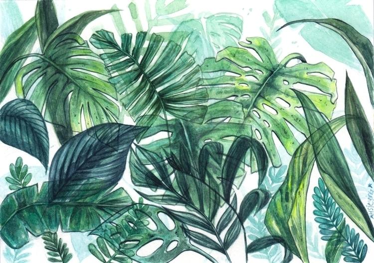 Foliage watercolours - illustration - hsieying | ello