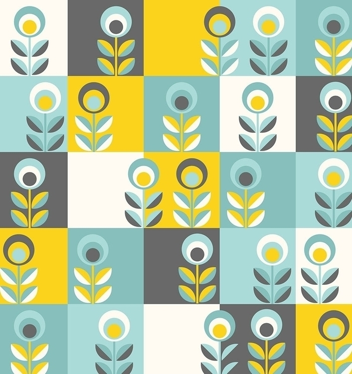 RETRO FLOWERS wallpaper pattern - slanapotam | ello
