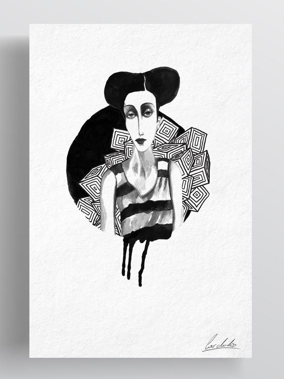 urban girl - drawing, ink, illustration - cardula | ello