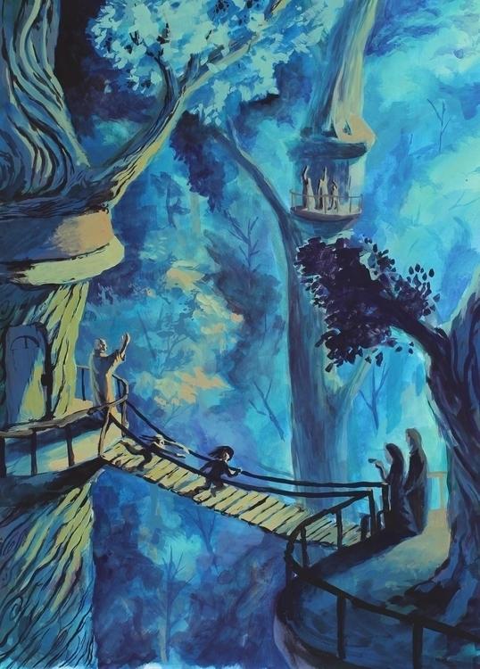 Treehouse Village - gouache, illustration - artstory   ello