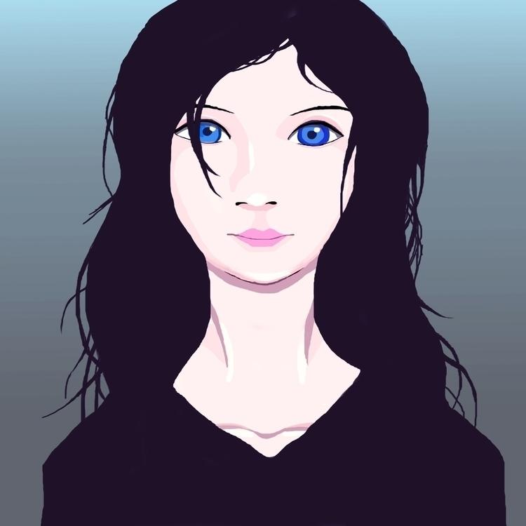 Blue eyes - illustration, drawing - ilyagroznov   ello
