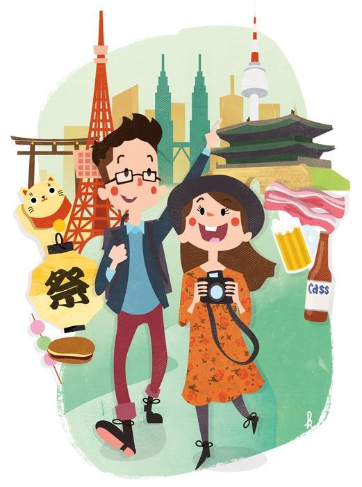 Seoul, Tokyo, Kuala Lumpur - asia - ktoons | ello