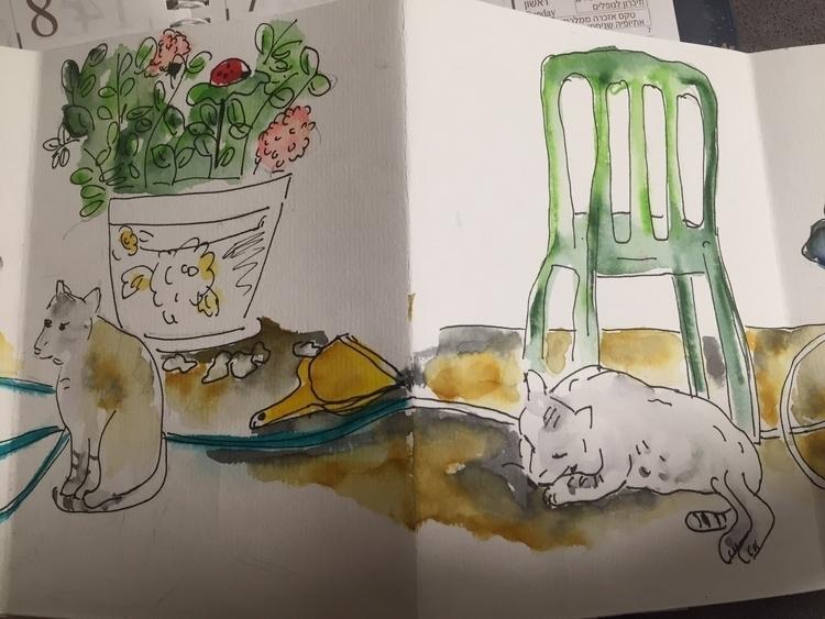 Cats yard - cats, urbansketching - ilanagraf | ello