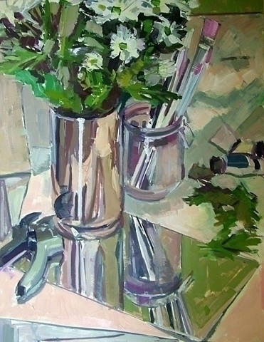 Crysanthemums - painting, stilllife - lissaphooka | ello