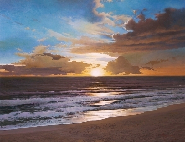 Sunset 81x100 cm. oil canvas, s - josehiguera | ello