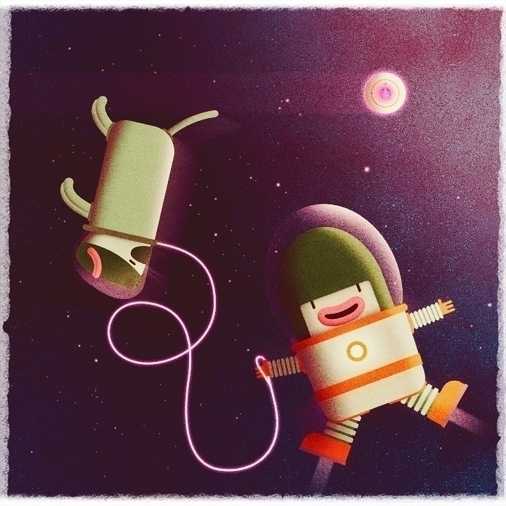 Space dogwalker - illustration, space - zergestus | ello
