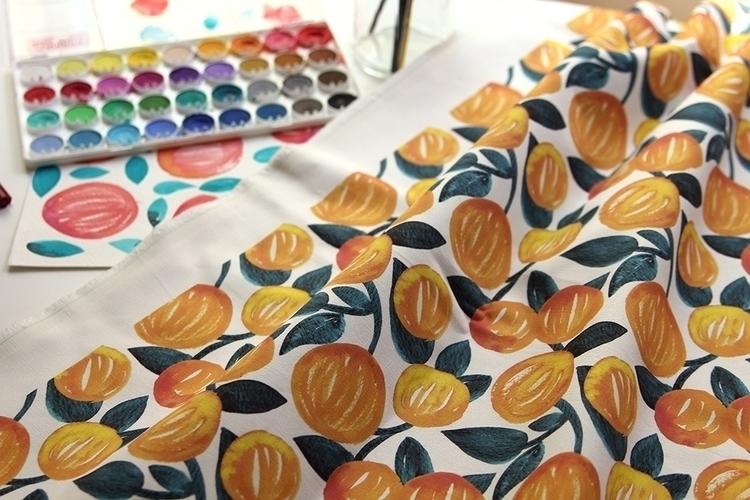 Orange Garden - pattern, watercolor - pushkina | ello