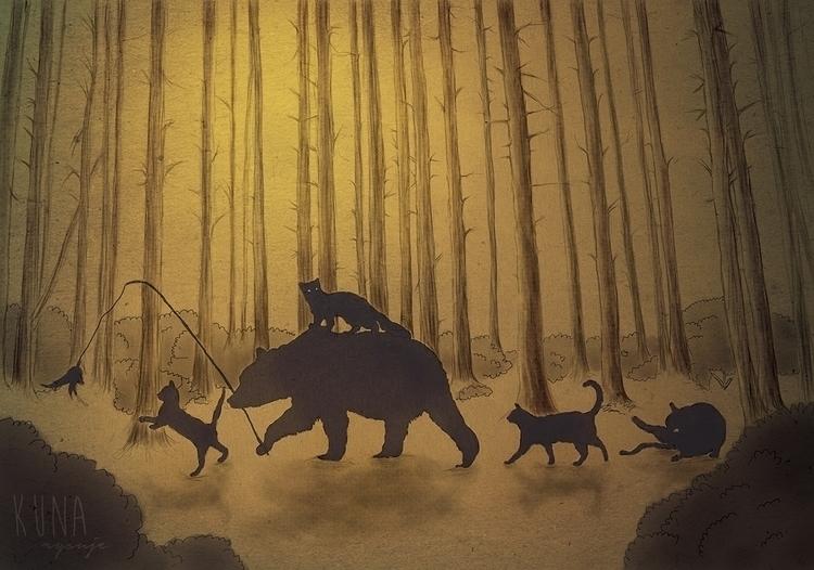 Family trip - illustration, digitalart - kunarysuje | ello
