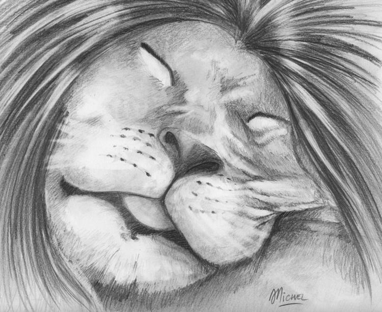 Lion qui dort - illustration, animal - artnoz | ello