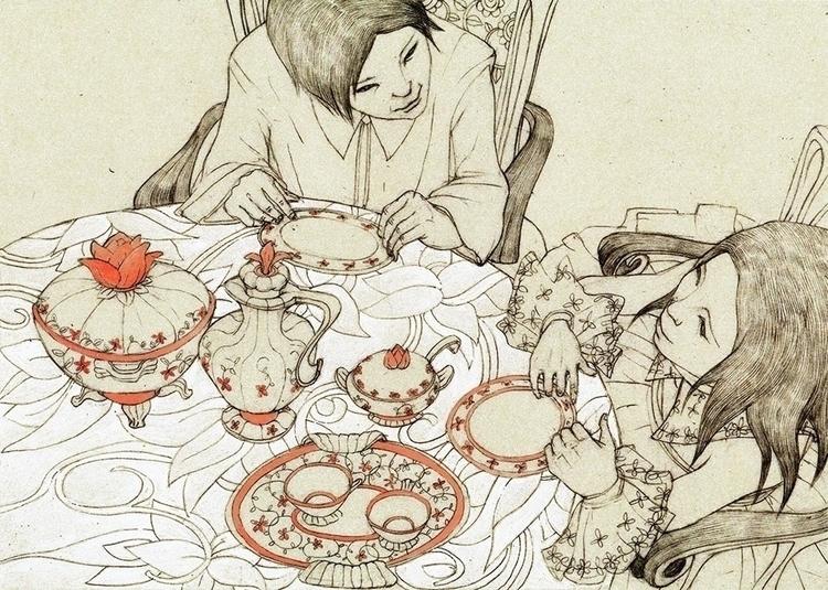 dinnertable, childrensbook, illustration - linakusaite | ello