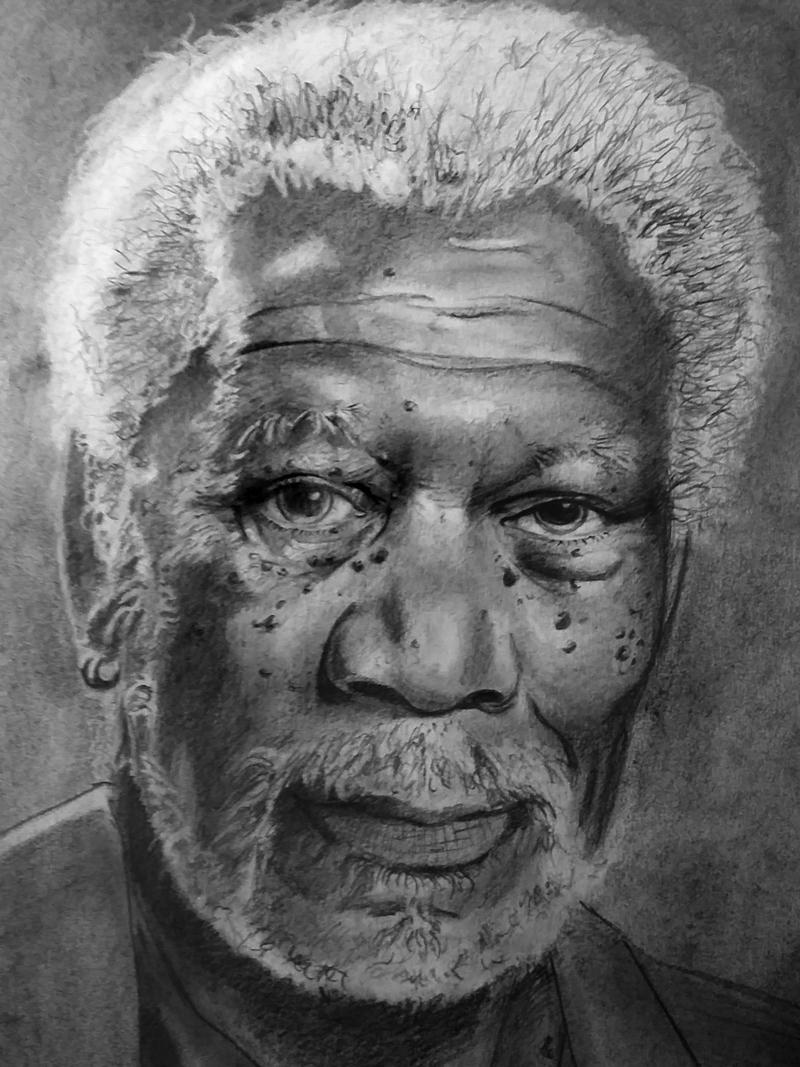 Morgan Freeman Crayon sur papie - artnoz | ello