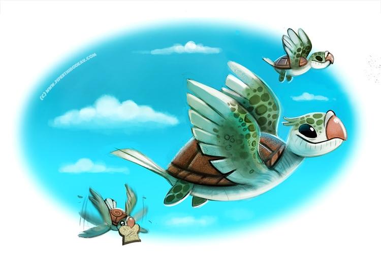 Daily Paint Turtle Doves - 1003. - piperthibodeau | ello