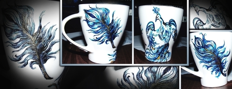 Peacock 2 Feather 1 - painting, cup - aiakira | ello