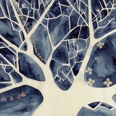 tree, bluesky, watercolour, collage - robincottage | ello