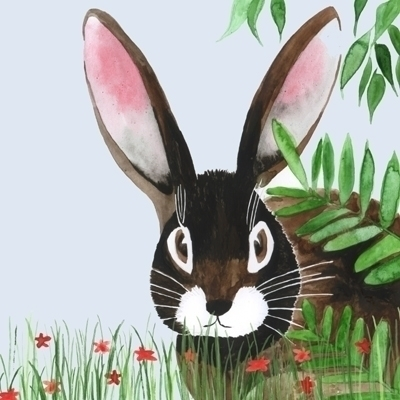 bunny, easterbunny, watercolour - robincottage | ello