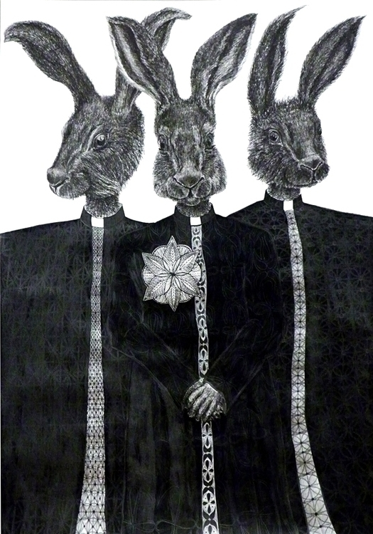 hares. Ink, pencil, paper, 64x9 - gadabout-2764 | ello