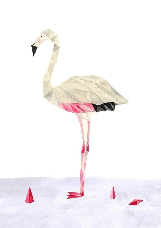 flamingo, pink, watercolour, bird - robincottage | ello