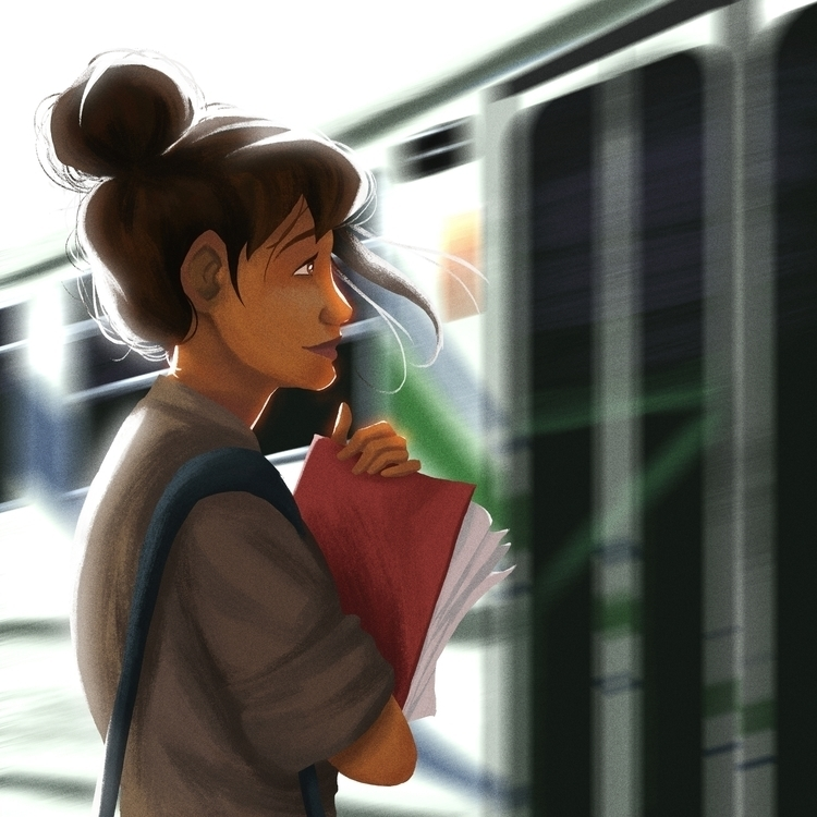 Waiting tram, time, place - illustration - dominicdraws   ello