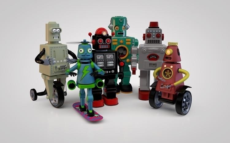 Robots bunch - 3dart, cinema4d, robots - johniseifert | ello