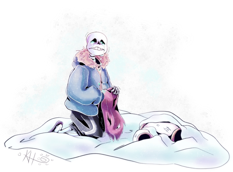 illustration, undertale, sans - waterloggedart | ello