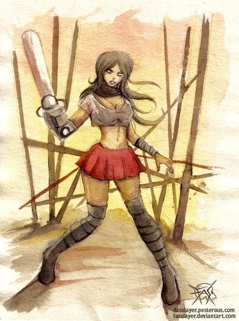 zombie girl watercolors - illustration - fasslayer | ello