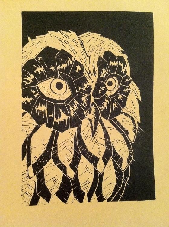 owl, linocut, ink, blackink, black - clarisse-1174 | ello