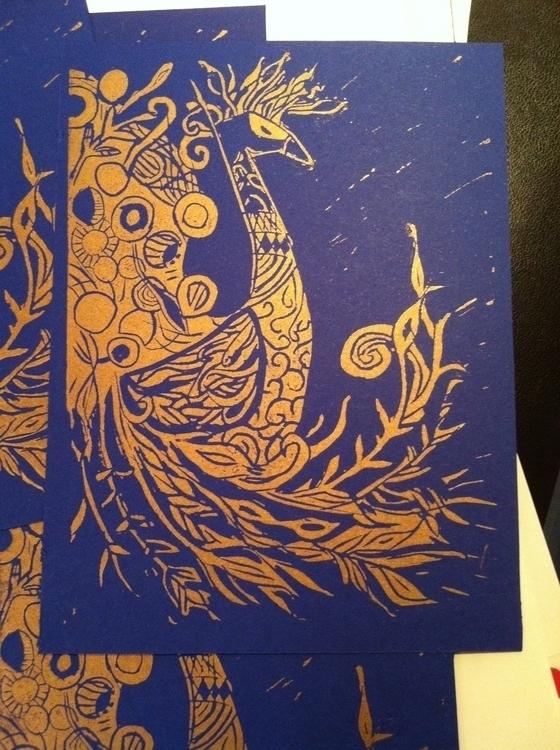 Peacock postcards - linocut, peacock - clarisse-1174 | ello