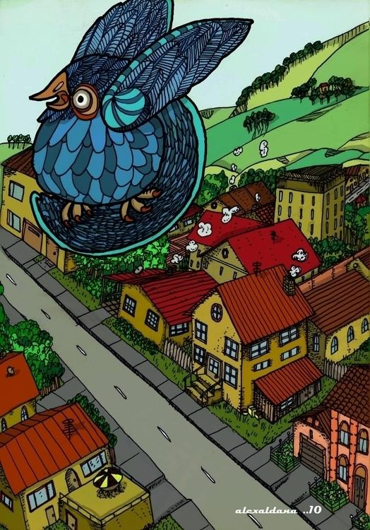 BluesBird - illustration, painting - alexaldana-9980 | ello