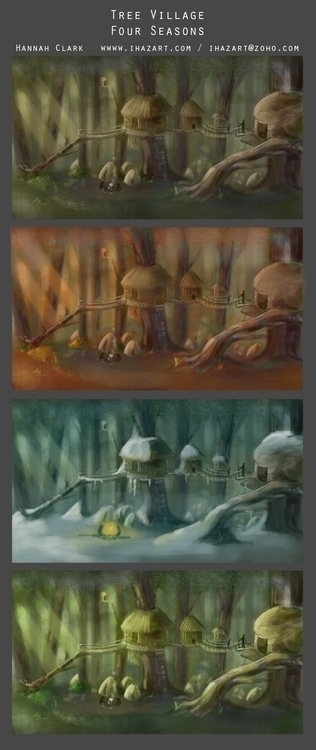 Village seasons - conceptart, environmentconcept - ihazart | ello