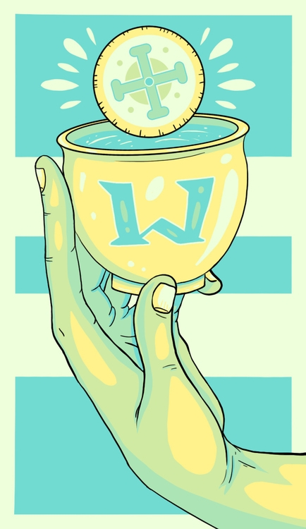 Ace Cups - illustration, tarot - wingywonky-5811 | ello