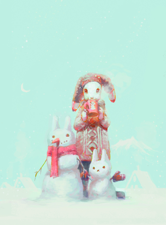 Snow Hare watches children buil - manwhal | ello