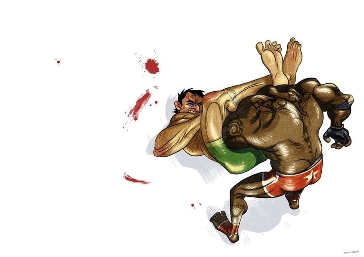 wrestling - illustration, characterdesign - hugocuellar | ello