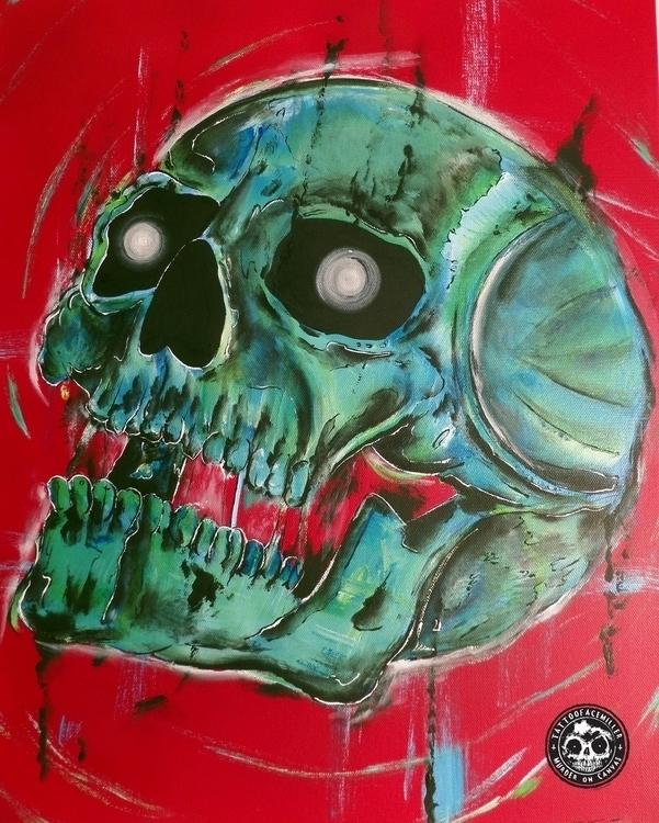 Green Light - skullskullartskullpaintingspooky - tattoofacemiller | ello