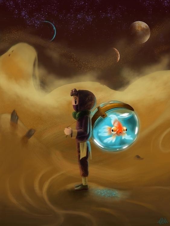 Fish - illustration, painting, characterdesign - alfredmanzanoart | ello