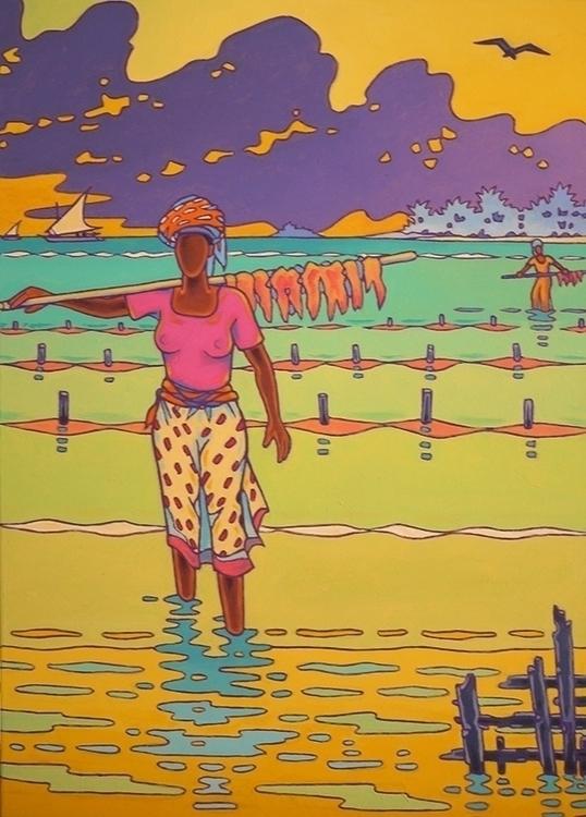 Zanzibar women acrylics canvas  - gillesmevel | ello
