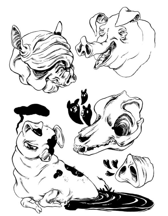 Pigs - pig, ink, drawing, sketchbook - mjarvis-5786   ello