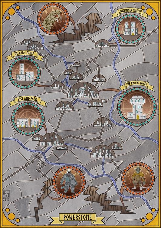 Powerstone - illustration, map, stainedglass - robertaltbauer | ello