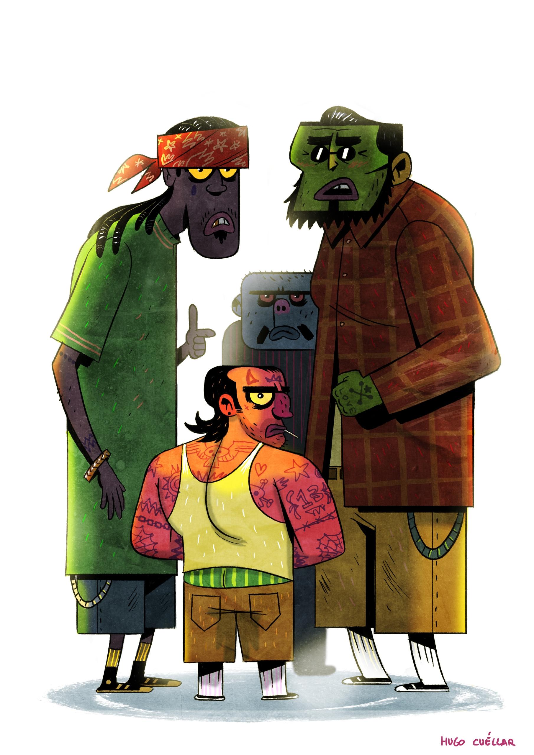 Goons - goons, gangster, illustration - hugocuellar | ello