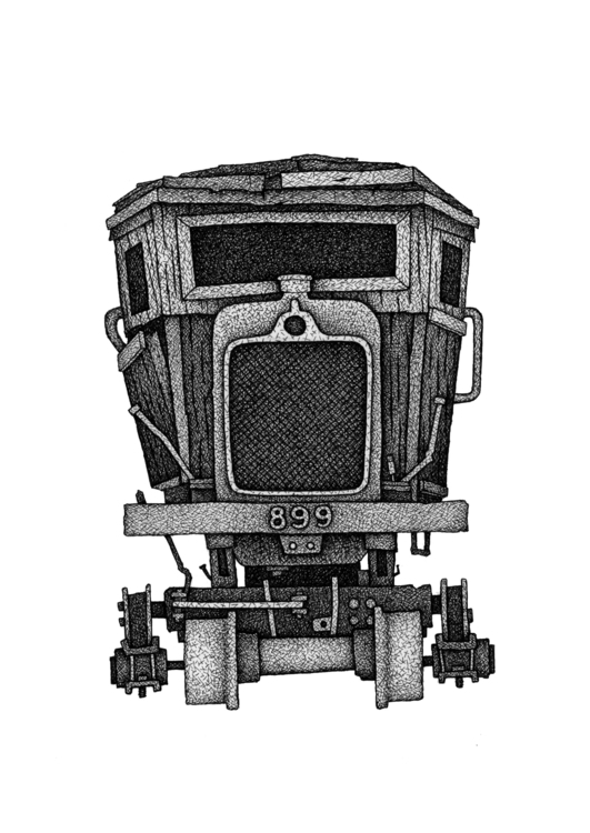 Train 899 - illustration, drawing - debbiefong | ello