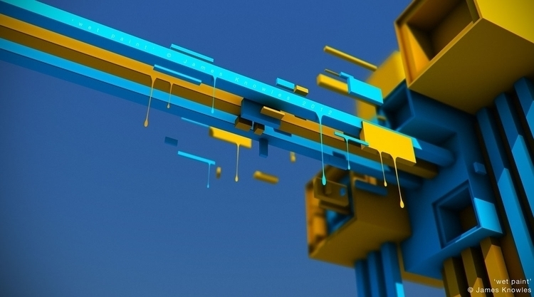 Wet Paint - 3d, abstract, blue, yellow - jamesknowles | ello