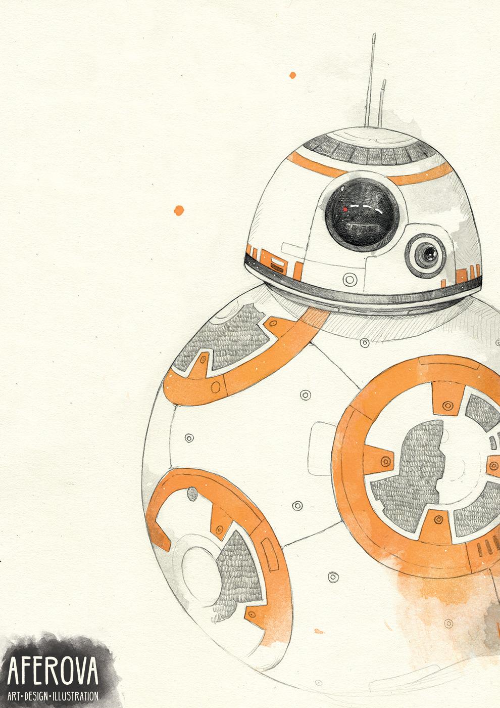BB-8 - illustration, drawing, bb8 - aferova | ello