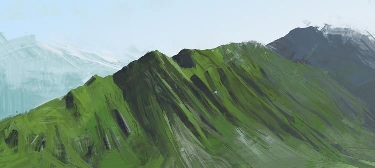 mountains - illustration, painting - causelovesky | ello